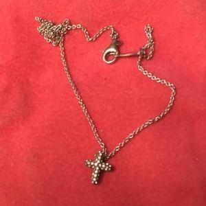 Jewelry - Silver sterling small cross  with rhinestones